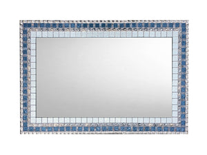 Silver Gray Blue Mixed Media Mosaic Mirror, Rectangular Mosaic Mirror, Green Street Mosaics