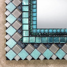 Rectangular Mosaic Mirror in Aqua and Gray, Rectangular Mosaic Mirror, Green Street Mosaics