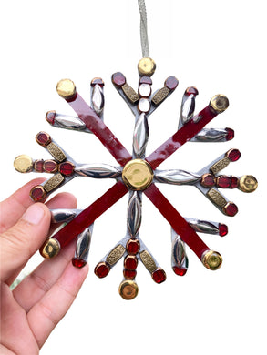 Christmas Ornament Snowflake Red Silver Gold