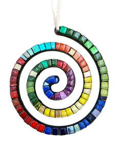 Mosaic Ornament - Spiral Rainbow