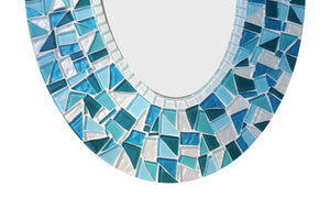 Oval Mosaic Mirror: Teal, Turquoise, White, OVAL Mosaic Mirror, Green Street Mosaics
