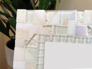 White Mosaic Picture Frame, Picture Frame, Green Street Mosaics