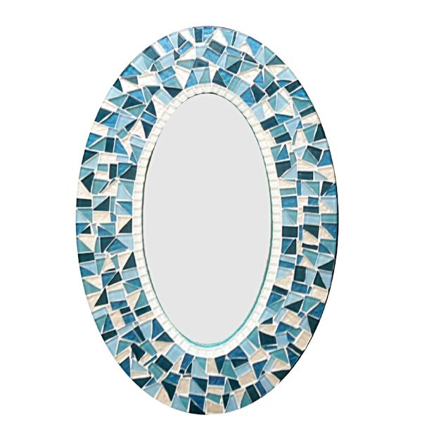 Oval Mosaic Mirror: Teal, Turquoise, White