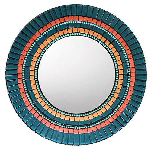 Teal and Orange Wall MIrror, Round Mosaic Mirror, Green Street Mosaics