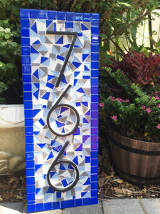 Blue House Numbers Sign, House Number Sign, Green Street Mosaics