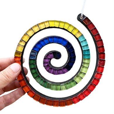 Holiday Ornament - Spiral Multicolored Rainbow