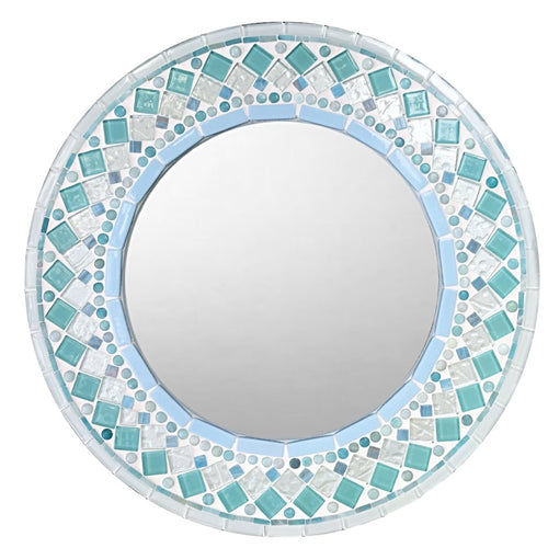 Round Wall Mirror Aqua and White, Round Mosaic Mirror, Green Street Mosaics