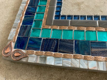 "Mosaic Wall Mirror in Blue, Aqua, Gray -18 x 24"" Rectangle"