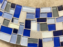 Mosaic Art Mirror, Round  Wall Mirror - Blue, Gray, White