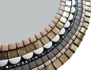 Brown and Tan Accent Mirror, Round Mosaic Mirror, Green Street Mosaics