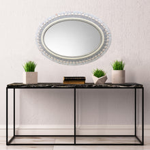 Neutral Gray and White Oval Wall Mirror, OVAL Mosaic Mirror, Green Street Mosaics