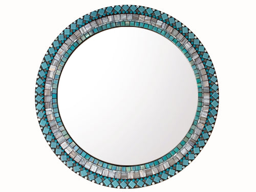 Mosaic Wall Mirror Aqua and Gray - 18