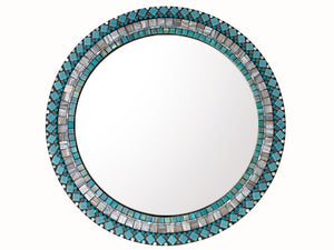 "Mosaic Wall Mirror Aqua and Gray - 18"" Round"