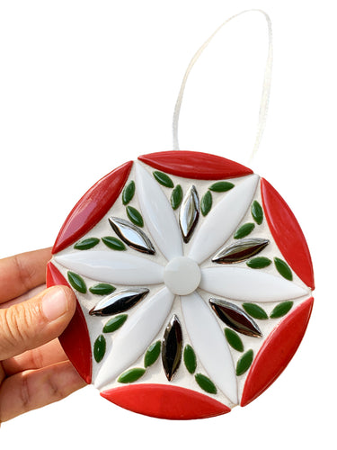 Red Green White Mosaic Holiday Ornament