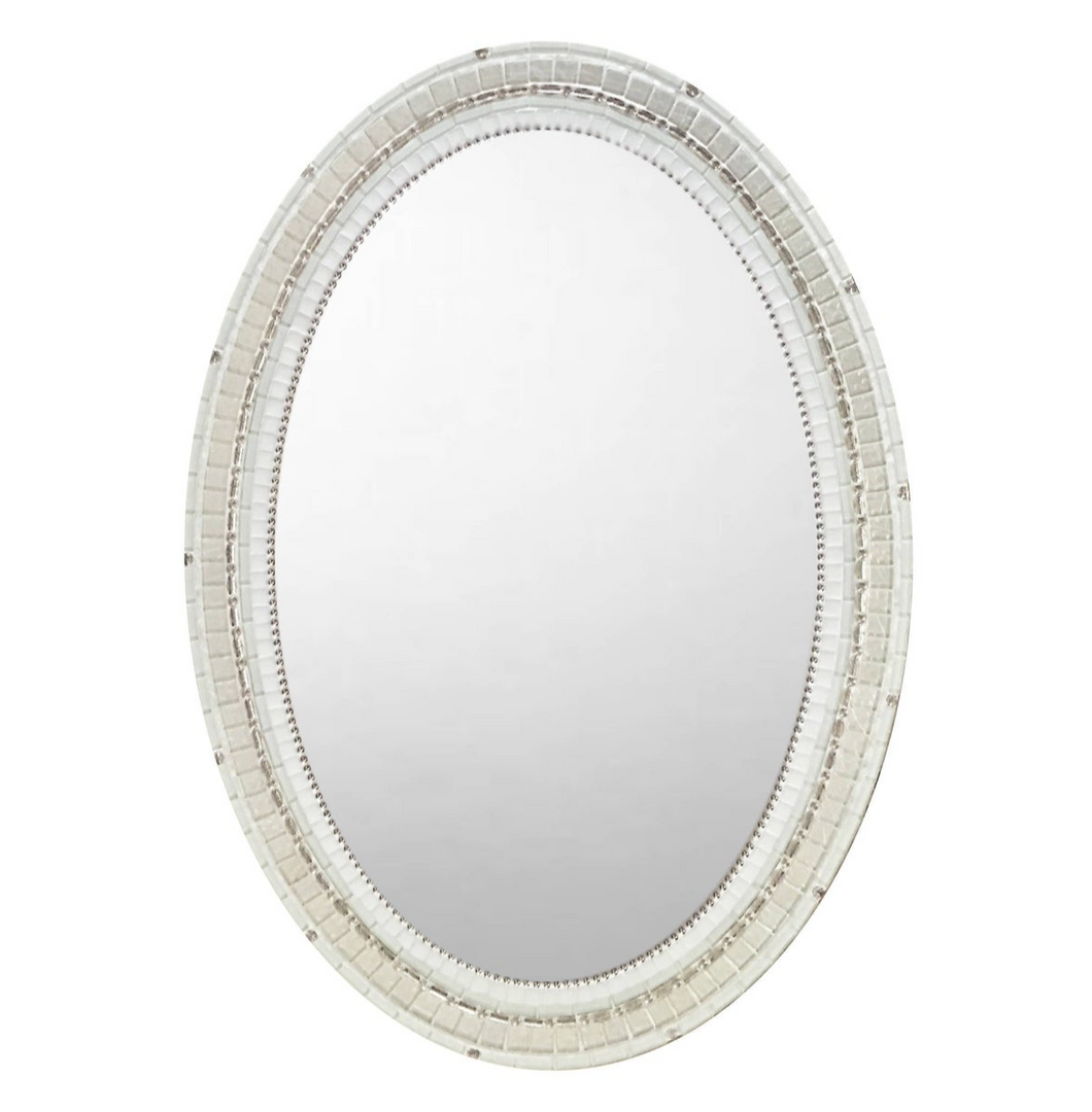 White Mirror with Silver Accents - 24 x 30
