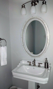 "White Mirror with Silver Accents - 24 x 30"" Oval"
