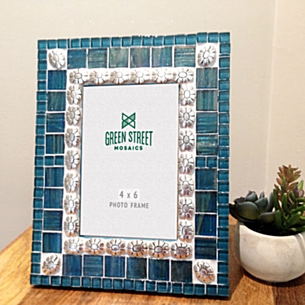 Teal and Silver Mosaic Picture Frame, Picture Frame, Green Street Mosaics