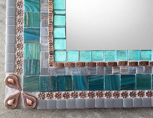 Custom Mirror for Diane, Rectangular Mosaic Mirror, Green Street Mosaics