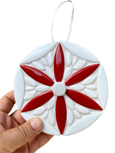 Red and White Mosaic Holiday Ornament