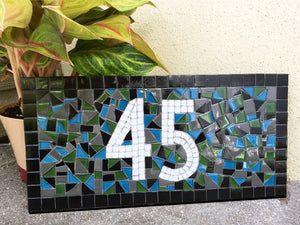 Unique Mosaic House Number Sign, House Number Sign, Green Street Mosaics