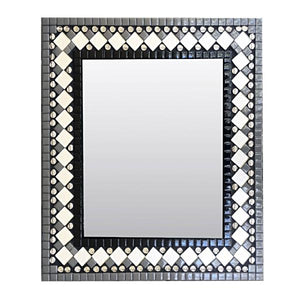 Black and White Mosaic Wall Mirror, Rectangular Mosaic Mirror, Green Street Mosaics