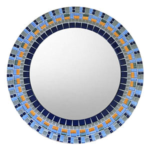 Round Mosaic Mirror Blue and Orange, Round Mosaic Mirror, Green Street Mosaics