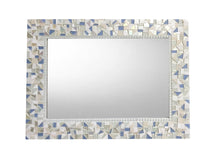 White and Blue Mosaic Mirror, Rectangular Mosaic Mirror, Green Street Mosaics