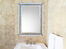 Bathroom Mirror Brown and Gray, Rectangular Mosaic Mirror, Green Street Mosaics