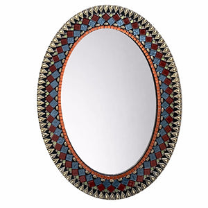 Oval Mirror Jeweled Tones, OVAL Mosaic Mirror, Green Street Mosaics