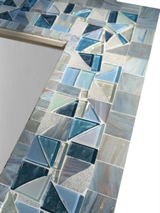 Gray and Blue Wall Mirror, Rectangular Mosaic Mirror, Green Street Mosaics