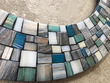 Wall Mirror - Gray, White, Aqua, Teal, Round Mosaic Mirror, Green Street Mosaics