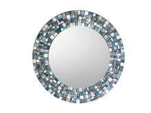 Round Wall Mirror in Gray, White, Aqua, Teal Mosaic, Round Mosaic Mirror, Green Street Mosaics