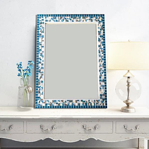 Large Decorative Mirror Teal Gray White Mosaic, Rectangular Mosaic Mirror, Green Street Mosaics