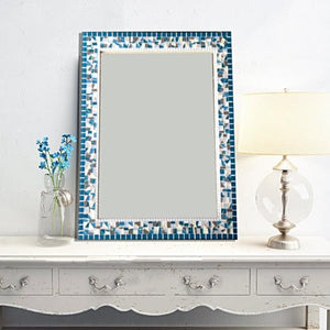 Large Decorative Mirror Teal Gray White Mosaic