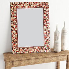 Decorative Mosaic Wall Mirror, Rectangular Mosaic Mirror, Green Street Mosaics