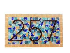 Blue House Number Plaque, House Number Sign, Green Street Mosaics
