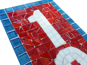 Red, White, Blue Mosaic Address Sign, House Number Sign, Green Street Mosaics