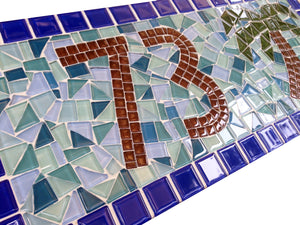 Blue Mosaic Address Plaque with Palm Tree, House Number Sign, Green Street Mosaics