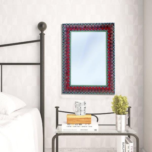Mosaic Mirror for Bedroom, Rectangular Mosaic Mirror, Green Street Mosaics