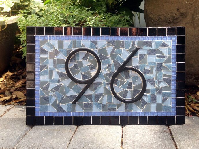 Blue and Gray Address Sign, House Number Sign, Green Street Mosaics