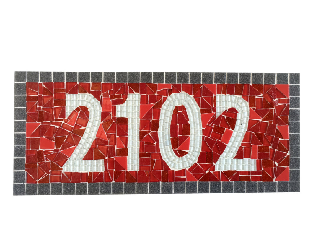 Red Outdoor House Number Sign, House Number Sign, Green Street Mosaics