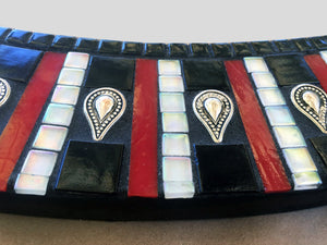 Black White and Red Oval Mosaic Mirror, OVAL Mosaic Mirror, Green Street Mosaics