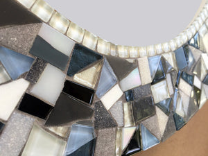 Blue and Gray Oval Mosaic Mirror, OVAL Mosaic Mirror, Green Street Mosaics