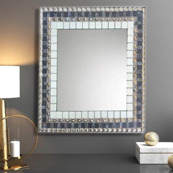 Mirror for Foyer, Rectangular Mosaic Mirror, Green Street Mosaics