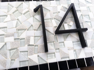 Black and White Address Sign, House Number Sign, Green Street Mosaics