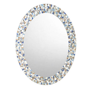 Oval Mosaic Mirror for Beach House, OVAL Mosaic Mirror, Green Street Mosaics