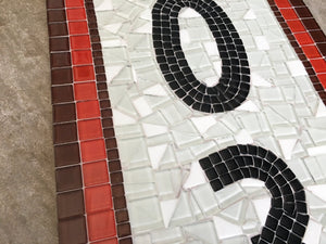 Orange and Brown Address Plaque, House Number Sign, Green Street Mosaics