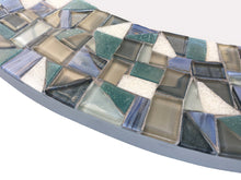 Round Wall Mirror Sea Green, Gray and Blue, Round Mosaic Mirror, Green Street Mosaics