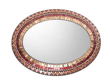 Bronze Copper Mosaic Mirror, OVAL Mosaic Mirror, Green Street Mosaics
