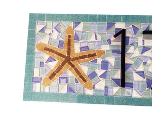 Aqua Address Sign for Beach House, House Number Sign, Green Street Mosaics